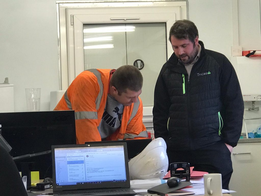 Design manager for Heron's View Tom meets with engineer from Western Power
